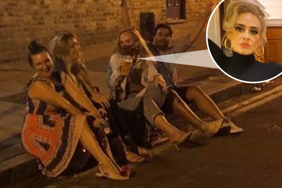 Adele holds pint of beer and a cigarette after 7st weight loss as she parties with pals on the street in London